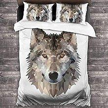 HUA JIE Textured Duvet Cover 3 Piece Animal Wolf