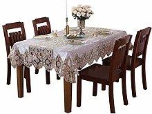 HUALEMEI Luxury Velvet Lace Tablecloth,Washable
