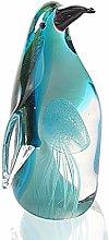 HUANSUN Art Glass Penguin with Jellyfish Figurine