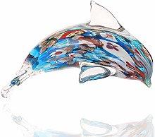 HUANSUN Glass Dolphin Figurine Handmade Blown Sea