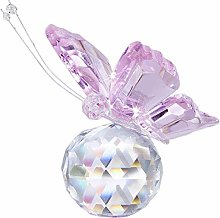 HUANSUN Pink Crystal Flying Butterfly with Crystal