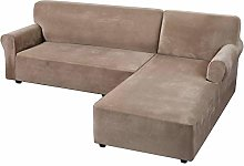 HUANXA Velvet Stretch Sofa Slipcover, Anti-Slip L