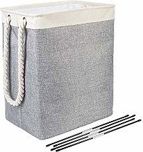HUAQIGUO Large Linen Laundry Basket with Cotton
