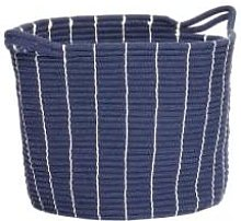 Hubsch - Blue Cotton Basket With Two Handles in