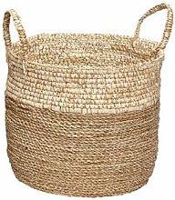 Hubsch - Large Beige Seaweed Round Basket