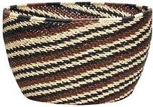 Hubsch - Large Black and Brown Ethno Striped Basket