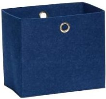 Hubsch - Large Blue Square Felt Storage Basket -
