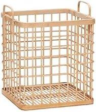 Hubsch - Medium Beige Grid Bamboo Basket