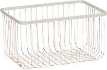 Hubsch - Rose Gold Wire Storage Basket - White and