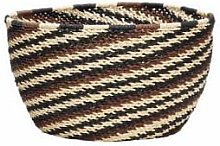 Hubsch - Small Black and Brown Ethno Striped Basket