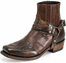 HUDUO Men Retro Western Cowboy Boots Embroidered