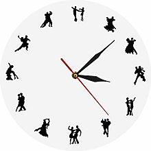 hufeng Wall Clock Ballroom Dancers Minimalist