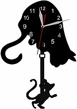 hufeng Wall Clock Cat And Mouse Swinging Pendulum