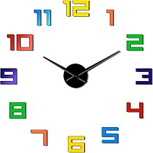 hufeng Wall Clock Colorful Numbers Diy Wall Clock