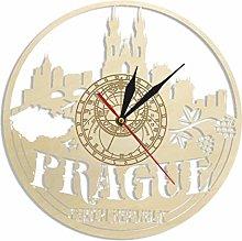 hufeng Wall Clock Czech Cityscape Prague Skyline