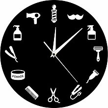 hufeng Wall Clock Hairstylist Business Wall Sign