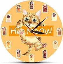 hufeng Wall Clock Hi Meow Colorful Cat Paws Art
