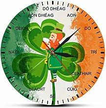 hufeng Wall Clock Ireland Flag Shamrock Clock Four