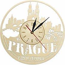hufeng Wall Clock Prague Skyline Wall Art