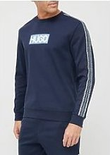 Hugo Debeshi Tape Logo Sweatshirt - Dark Blue