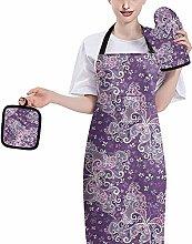 HUGS IDEA Elegant Vintage Paisley Butterfly Purple