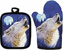 HUGS IDEA Fashion Blue White Wolf Oven Gloves -