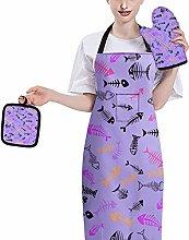 HUGS IDEA Fish Bone Purple Cartoon Funny Mens and