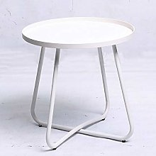 Huiiv Round Side Coffee Tray Table, Metal End