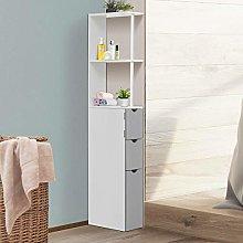 HUIJK Bathroom Storage Cupboard Thin Cabinet Unit