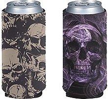 HUISEFOR Cool Standard Can Cooler 2 Pack Skull