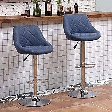 Huisen Furniture Set of 2 Blue Kitchen Bar Stools