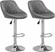 Huisen Furniture Set of 2 Grey Kitchen Bar Stools