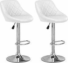 Huisen Furniture Set of 2 White Kitchen Bar Stools