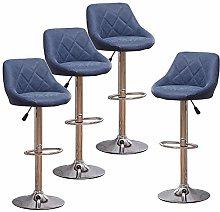 Huisen Furniture Set of 4 Blue Kitchen Bar Stools
