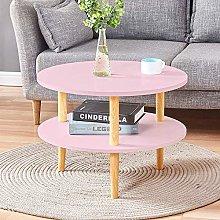 Huisen Furniture Small Round Side Sofa Table Pink