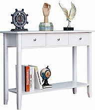 Huisen Furniture White 3 Drawers Console Table