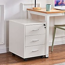 Huisen furniture White File Cabinet Wood with Lock