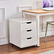 Huisen Furniture White Mobile Unit Storage Cabinet