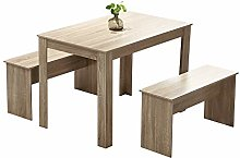 Huisen Furniture Wood Dining Table and 2 Benches