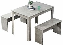 Huisen Furniture Wooden Dining Table and 2 Benches