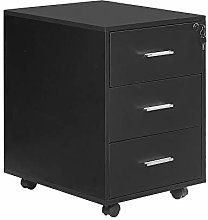Huisenuk Black File Cabinet with Lock and Storage
