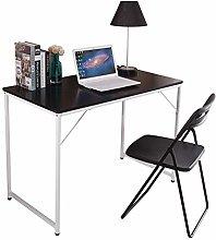 Huisenuk I Shape Black Computer Desk Table on