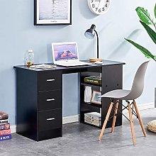 Huisenuk I Shape Black Computer Desk Table with 3