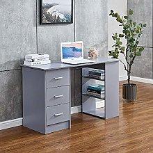 Huisenuk I Shape Grey Computer Desk Table with 3