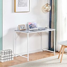 Huisenuk I Shape Office Computer Table Grey, Small