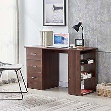 Huisenuk I Shape Walnut Computer Desk Table with 3