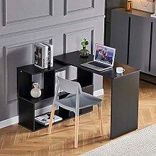Huisenuk L-Shaped Black Computer Desk Gaming Table