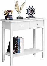 Huisenuk White Console Sofa Table Wooden with 2
