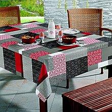 Huletec Oilcloth Tablecloth with Grey, Red and
