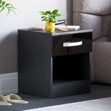 Hulio 1 Drawer Bedside Cabinet, Black